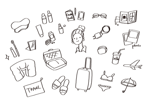 Hand-painted illustration material (travel)
