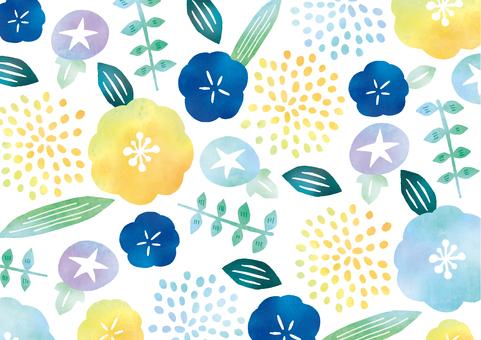 Summer flower textile watercolor