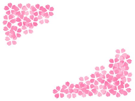 만발한 벚꽃 프레임 비스듬히