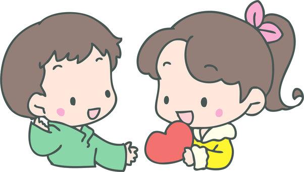 Pass a heart-shaped gift