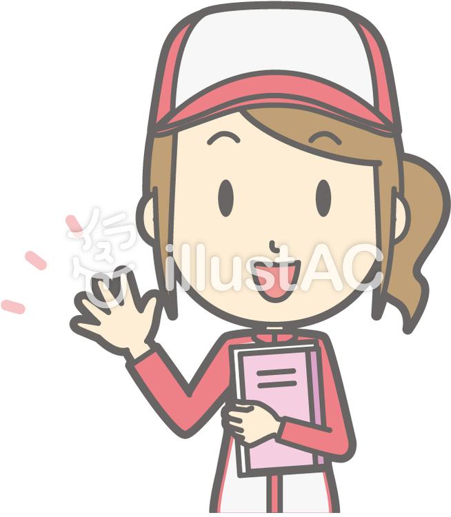 整備士女性-ノート-バストのイラスト
