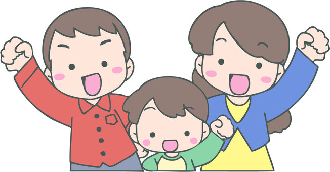Cheerful family (parents and boys)