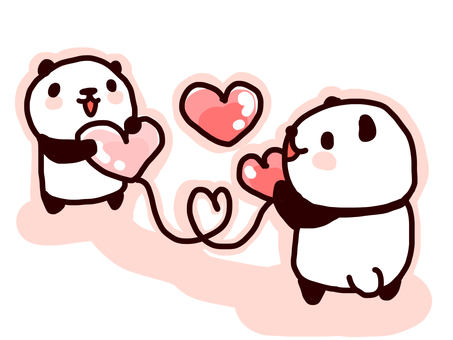 Pandas connected by heart