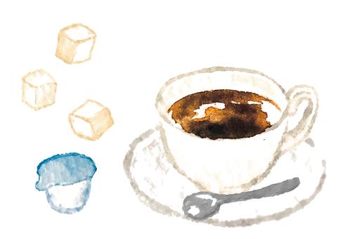 """""""水彩風格""""熱咖啡"""