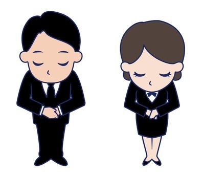 鞠躬的男人和女人
