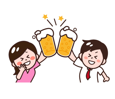 Male / female to drink at a drinking party with beer