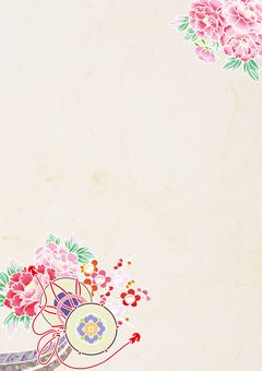 Drum and peony _ kimono pattern vertical plate _ Japanese paper