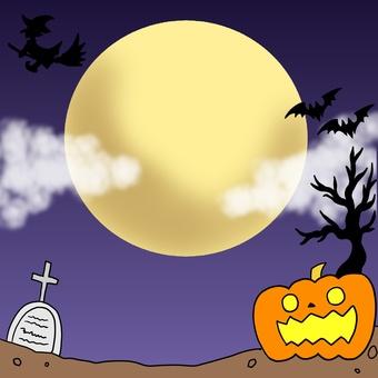 Halloween illustration reflected in the moon