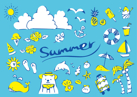 Handwritten summer cute icon set 02