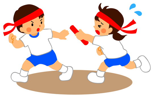 Athletic meet (baton touch)