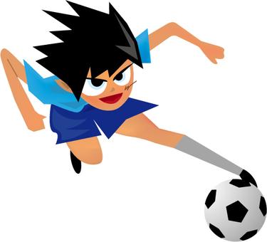 Soccer boy dribbling
