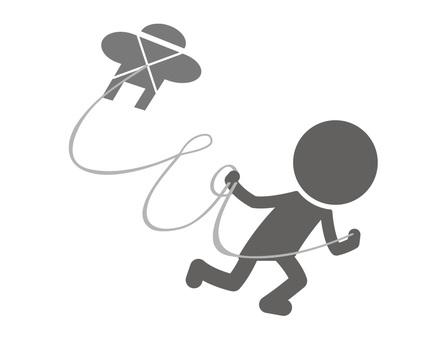 Stickman pictogram _ kite flying