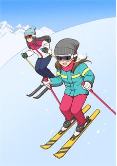 스키를 즐기는 여성