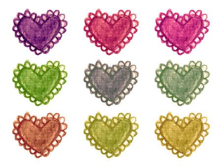 Heart motif warm color system