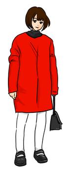 一件紅色外套的婦女
