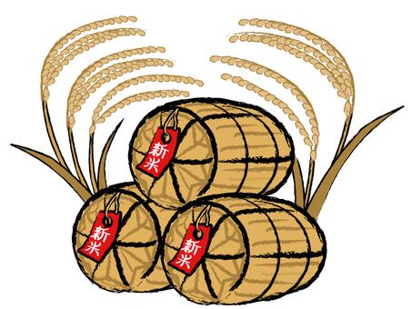 Japanese-style material Autumn taste rice rice straw