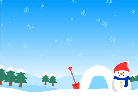 Snowman and snow scene