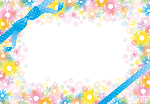 Glittering clear flower frame (blue ribbon)