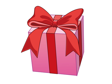 Illustration of gift with red ribbon