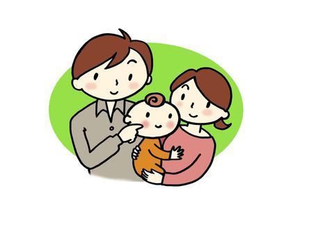 아기가있는 가족의 일러스트