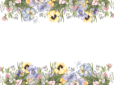 Flower frame 233 - Flower frame of pansies and fields