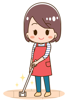 Illustration of a housewife to clean