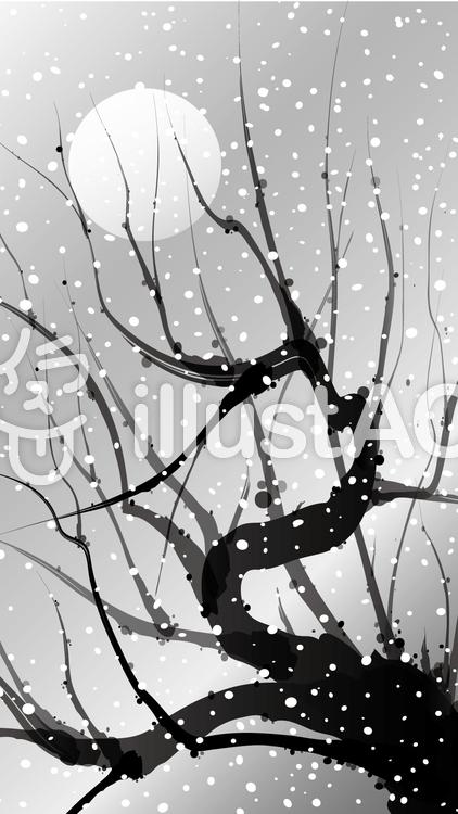 水墨画風枯木と月に雪縦イラスト No 646561無料イラストなら