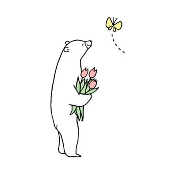 곰과 나비와 튤립