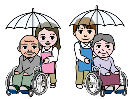 An old man (10) a caregiver who places an umbrella and an old man in a wheelchair