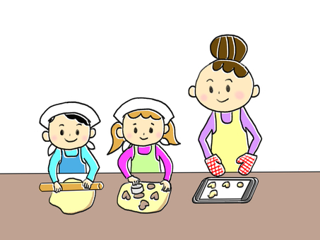 Making cookies with parents and children