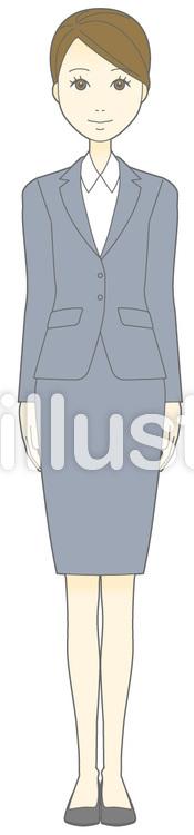 D女性スーツ-起立-全身のイラスト