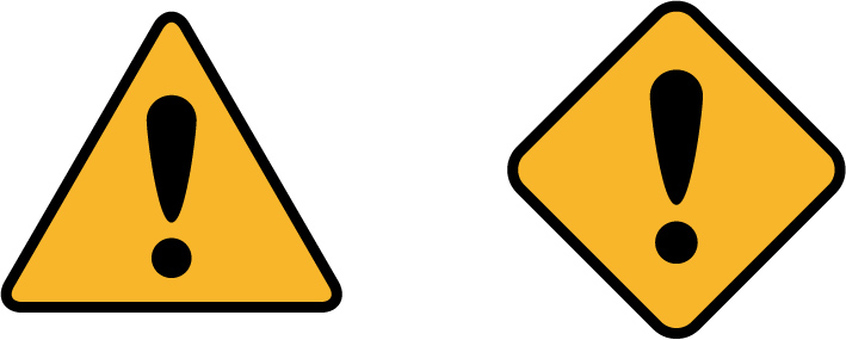 Attention icon signs triangular rhombus set