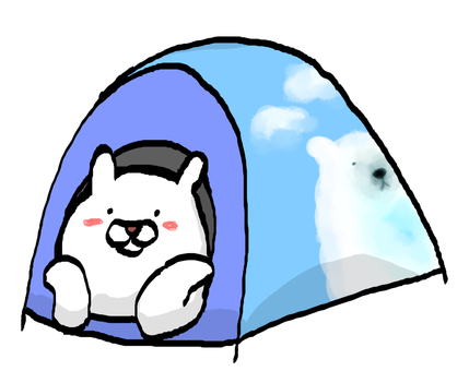 White bear in a tent