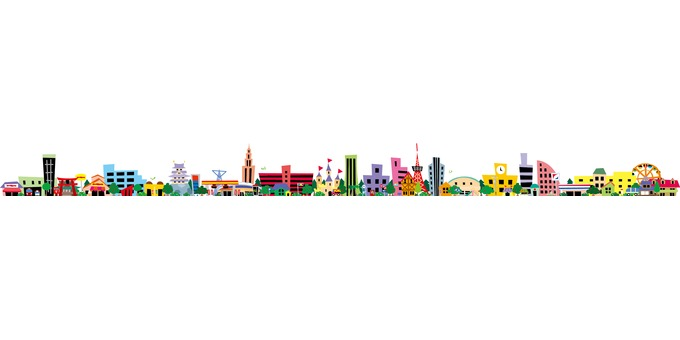 Colorful and lively cityscape frame