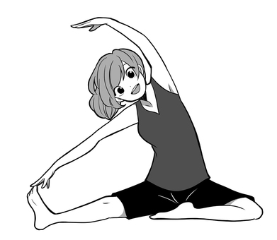 Woman doing stretching_monochrome
