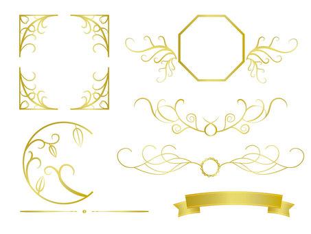Calligraphic gold garnish frame