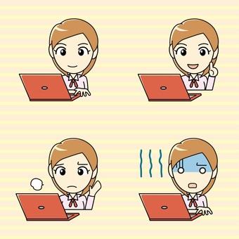 印刷物向け-パソコンと女の子 表情セット