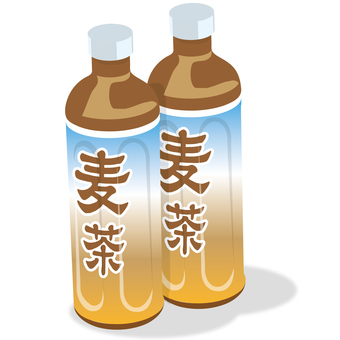 Barley tea with two plastic bottles