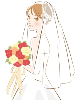 Bride yellow with an autumn bouquet