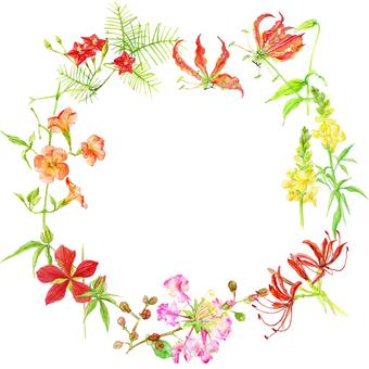 Watercolor Flower Frame - Summer -