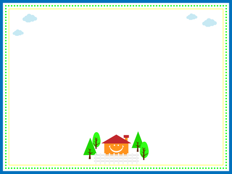 Smiling house frame with fence and trees