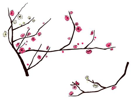 Hand-drawn wind plum blossoms