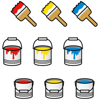 Paint brush and paint can