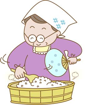초밥을 만드는 할머니