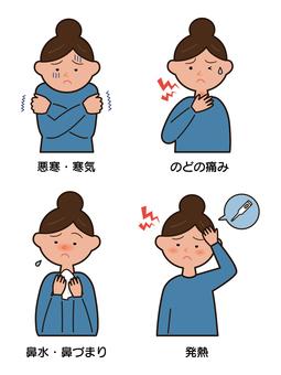 감기 증상 일러스트 세트 (선 있음)