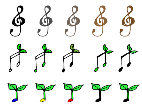 Hand-drawn musical notes set