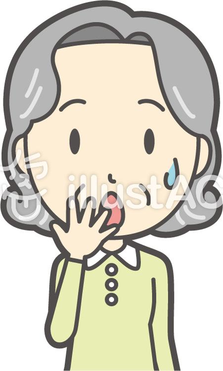 老人ボブ女性-266-バストのイラスト