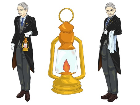 Old butler and lamp [Standing picture]