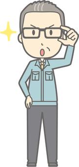 Middle-aged man work clothes - Eyeglass Kirari 1 - whole body