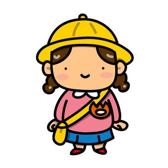 Girls wearing kindergarten uniforms